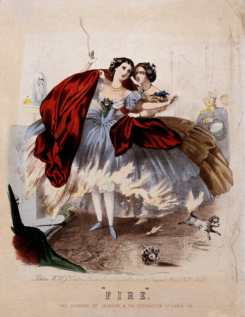 'Fire:' The Horrors of Crinoline and the Destruction of Human Life, hand-coloured lithograph, Wellcome Library, London.
