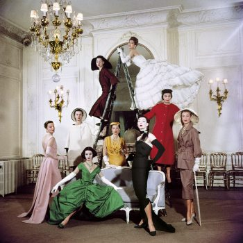 Models posing in new Christian Dior collection.  (Photo by Loomis Dean//Time Life Pictures/Getty Images)
